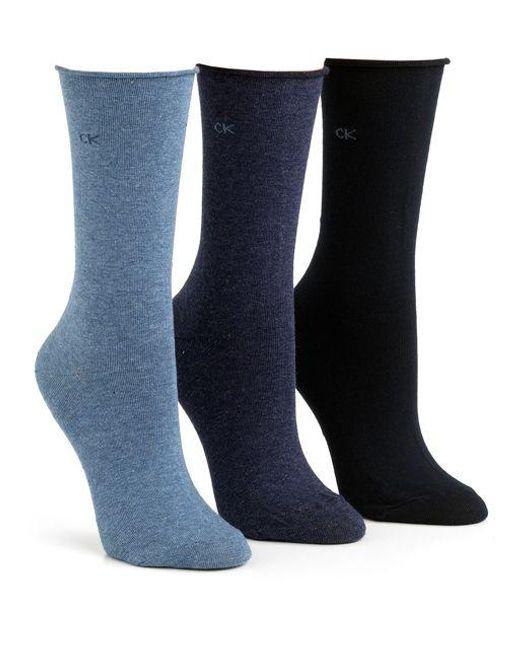 Calvin Klein | Blue Roll Top Socks | Lyst
