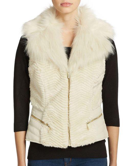 Guess | White Gabby Faux Fur Vest | Lyst