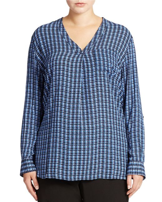 Lord & Taylor   Blue Plus Patterned Blouse   Lyst