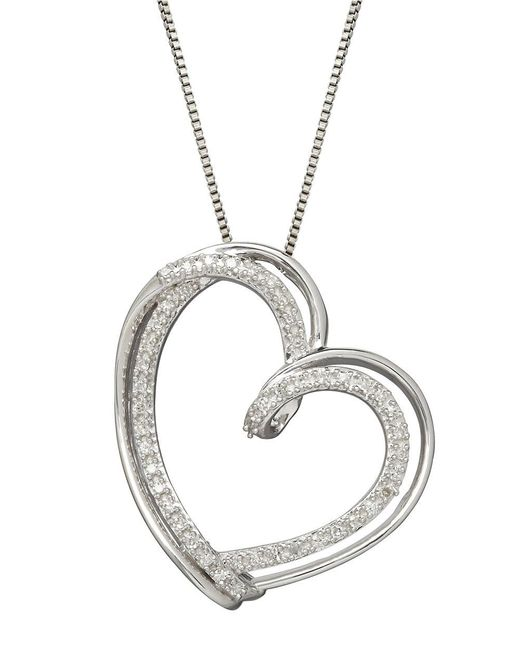 Lord & Taylor | Metallic Sterling Silver Diamond Heart Pendant Necklace | Lyst