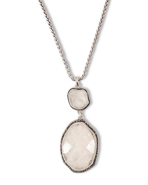 Lucky Brand   Metallic Silvertone And Semi-precious Rock Crystal Necklace   Lyst