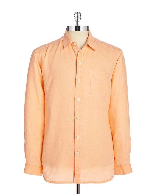 Tommy Bahama Relax Linen Shirt In Blue For Men Orange