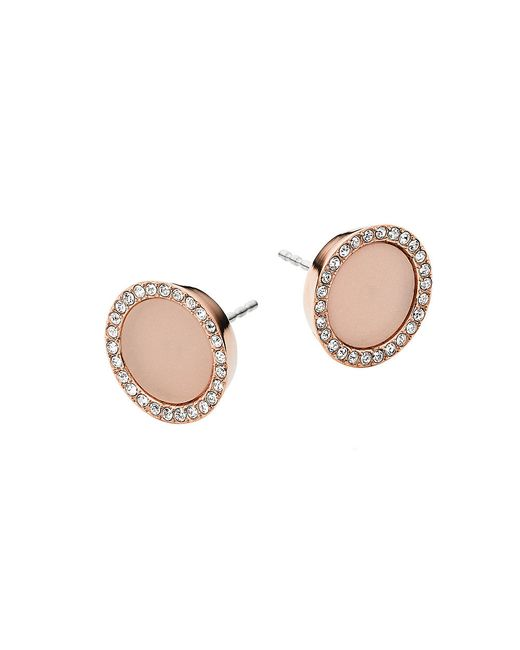 Michael Kors | Pink Rose Gold-Plated Stud Earrings | Lyst