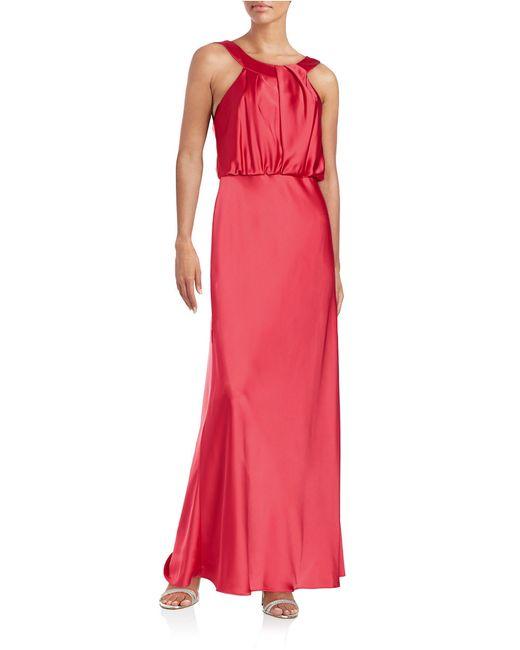 Calvin Klein   Red Blouson Bodice Gown   Lyst