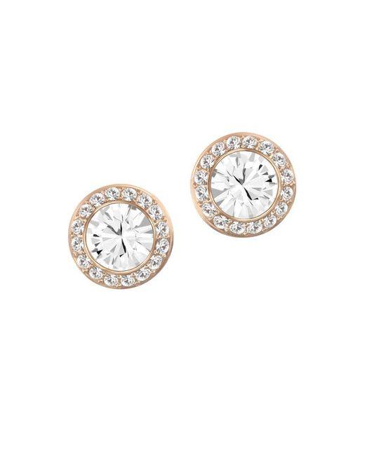 Swarovski | Metallic Angelic Crystal And Rose Goldtone Stud Earrings | Lyst