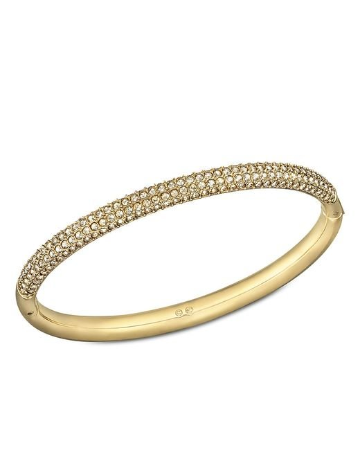 Swarovski | Metallic Stone Crystal And Goldtone Bangle Bracelet | Lyst
