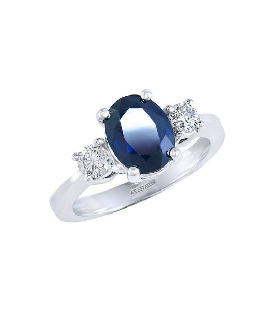 Effy   Metallic Gemma Sapphire, Diamond And 14k White Gold Ring   Lyst