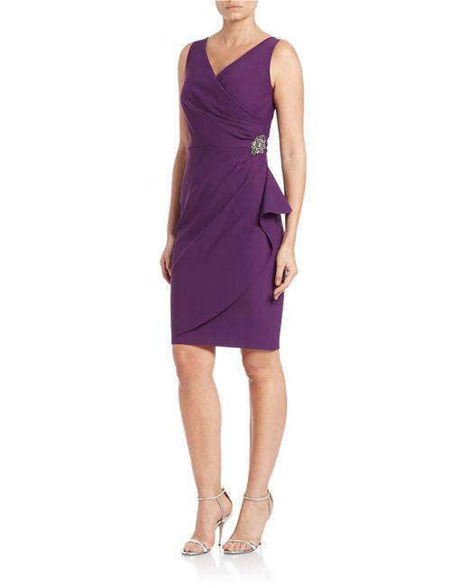 Alex Evenings | Purple Pleated Surplice Sheath Dress | Lyst