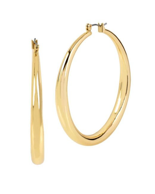 Kenneth Cole | Metallic Goldtone Hoop Earrings, 2 In. | Lyst