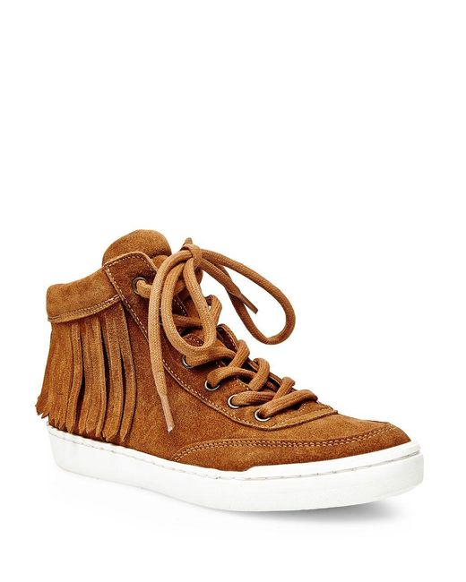 Steve Madden | Brown Teepeaa Lace-up Fringe Accented Sneakers | Lyst