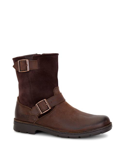 Ugg | Brown Messner Shearling-lined Leather Moto Boots for Men | Lyst