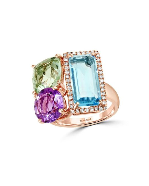 Effy | Multicolor Mosaic Diamond, Semi-precious, Multi-stone And 14k Rose Gold Ring | Lyst