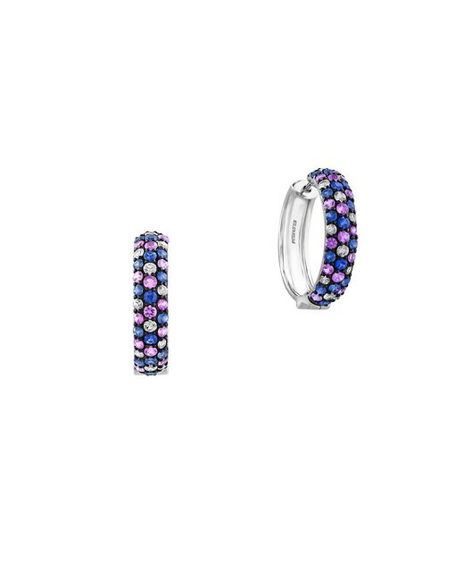 Effy | Blue 925 Sterling Silver And Tricolor Sapphire Hoop Earrings | Lyst