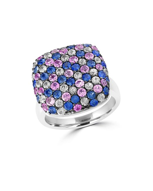 Effy | Blue 925 Sterling Silver And Tricolor Sapphire Ring | Lyst