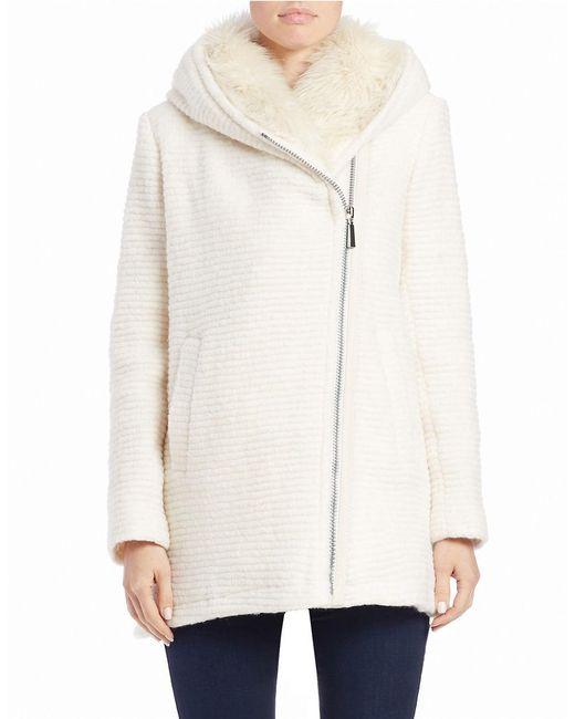 Vince Camuto | White Faux Fur-trimmed Asymmetrical Zip Coat | Lyst