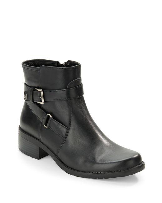 Anne Klein   Black Lynzee Buckle Ankle Boots   Lyst