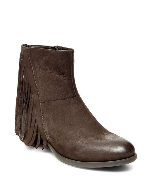 Steven by Steve Madden | Brown Cassidy Leather Fringe Booties | Lyst