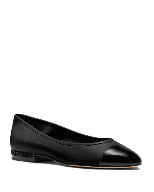 MICHAEL Michael Kors   Black Sabrina Cap Toe Leather Flats   Lyst