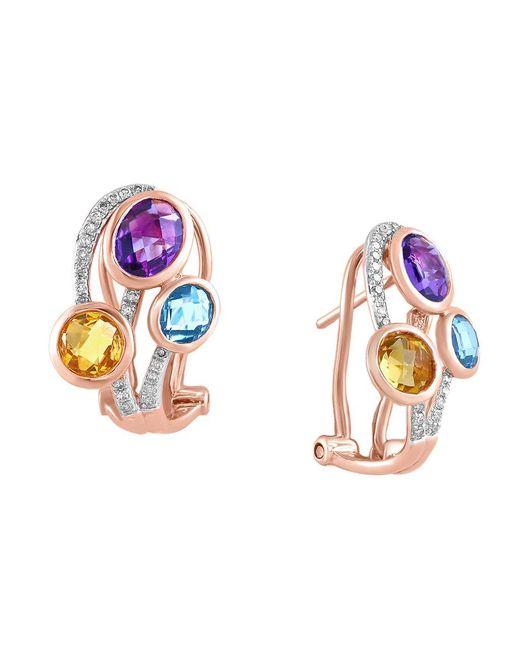 Effy | Metallic Mosaic Multi-colored Stone And Diamond Earrings | Lyst