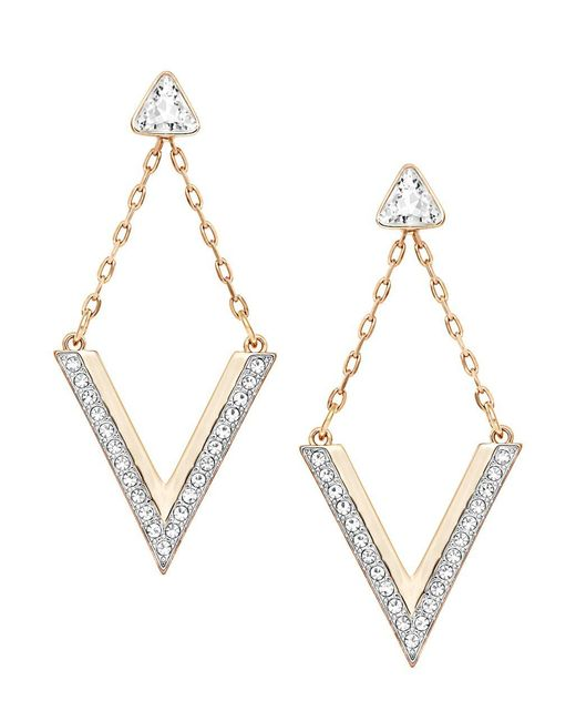 Swarovski   Metallic Delta Crystal Stud And Drop Earrings Set   Lyst