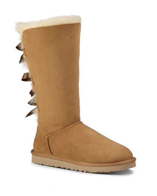 Ugg | Brown Bailey Bow Sheepskin Tall Boots | Lyst