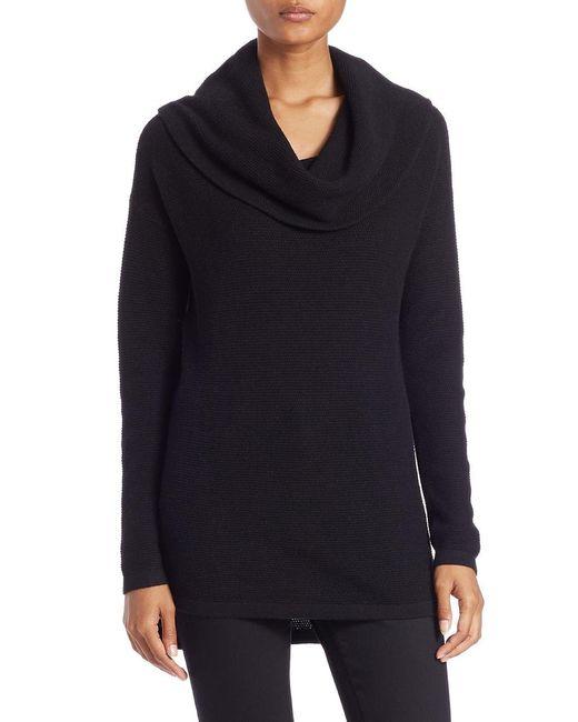 Lord & Taylor | Black Petite Drop-shoulder Cowl-neck Sweater | Lyst