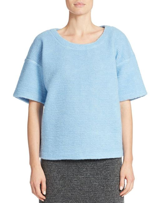 424 Fifth | Blue Boxy Blanket Knit Pullover | Lyst