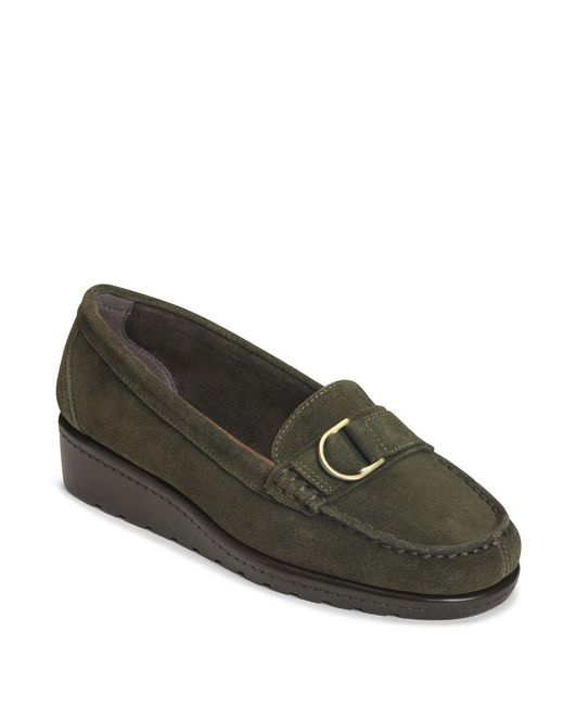 Aerosoles | Green Parisian Suede Wedge Loafers | Lyst