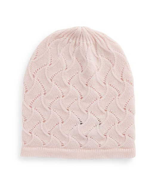 Lord & Taylor | Natural Pointelle Cashmere Hat | Lyst
