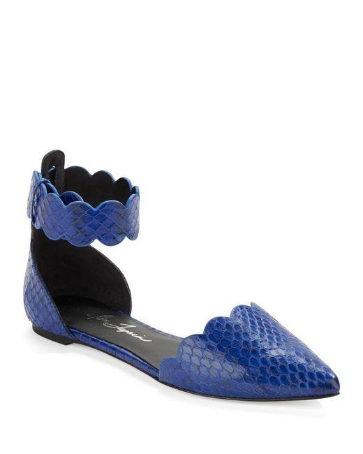 Isa Tapia | Blue Juan Scalloped Snakeskin Flats | Lyst