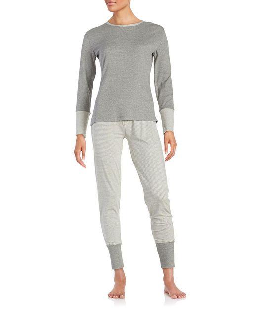 Splendid | Gray Cotton Blend Sleep Shirt And Pants Set | Lyst