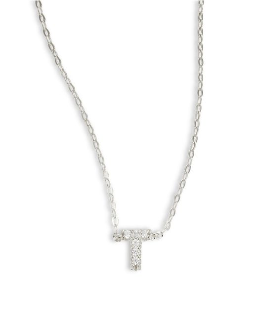 Nadri | Metallic Sterling Silver T Initial Necklace | Lyst