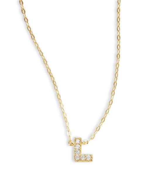Nadri | Metallic Sterling Silver L Initial Necklace | Lyst