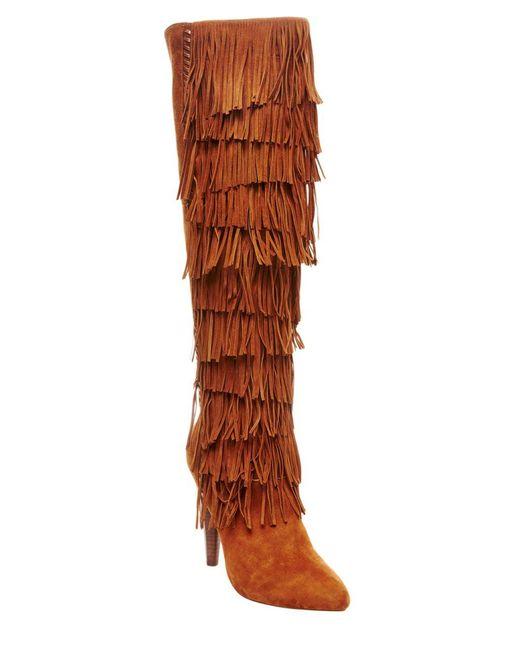 Steve Madden | Brown Maraka Suede Fringe Boots | Lyst