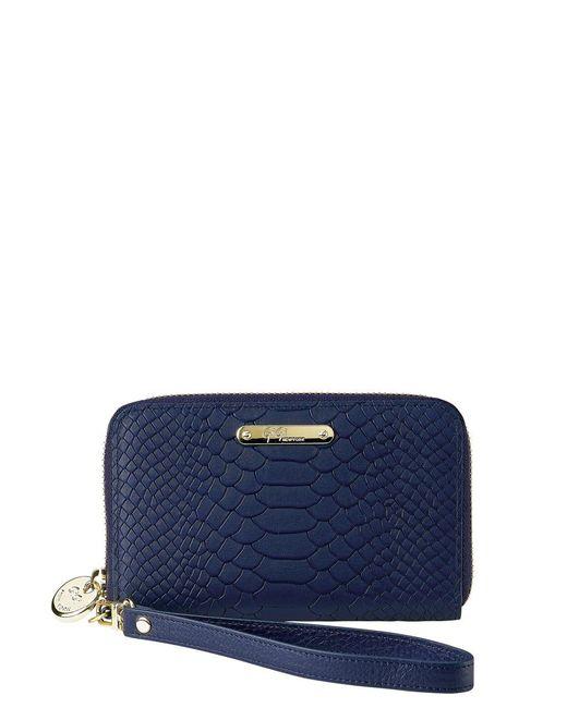 Gigi New York   Blue Spring Python Embossed Leather Zipped Phone Wallet   Lyst