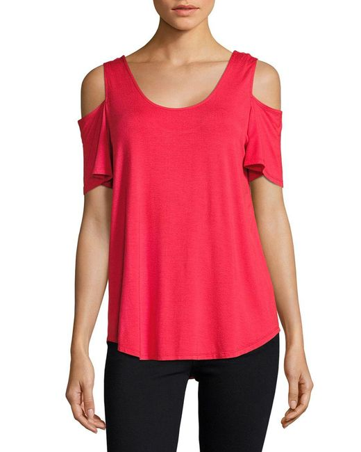 Lord & Taylor | Red Knit Cold-shoulder Top | Lyst