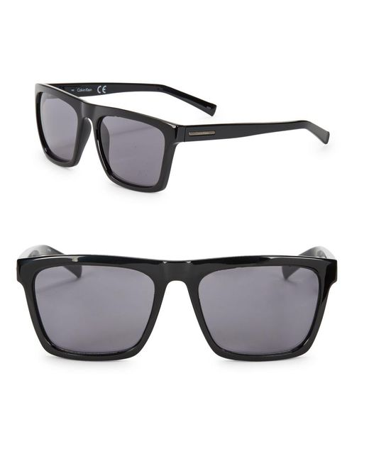 Calvin Klein | Black 57mm Square Sunglasses for Men | Lyst