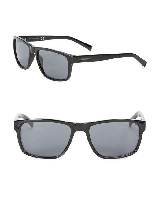 Calvin Klein   Black 57mm Rectangular Sunglasses   Lyst