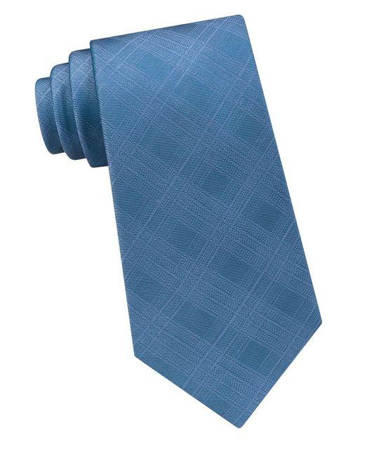 Calvin Klein   Blue Solid Shadow-plaid Tie for Men   Lyst