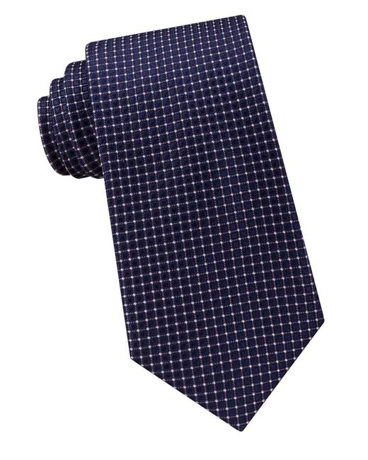 MICHAEL Michael Kors | Blue Micro Square Silk Tie for Men | Lyst