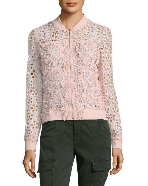 T Tahari | Pink Zip-front Fatima Jacket | Lyst