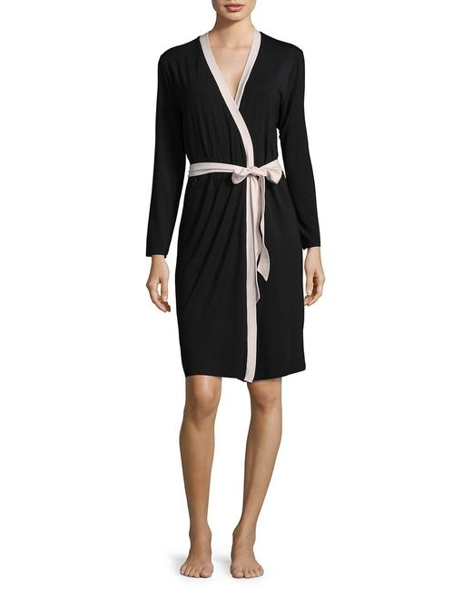 Lord & Taylor | Black Knit Contrast Robe | Lyst
