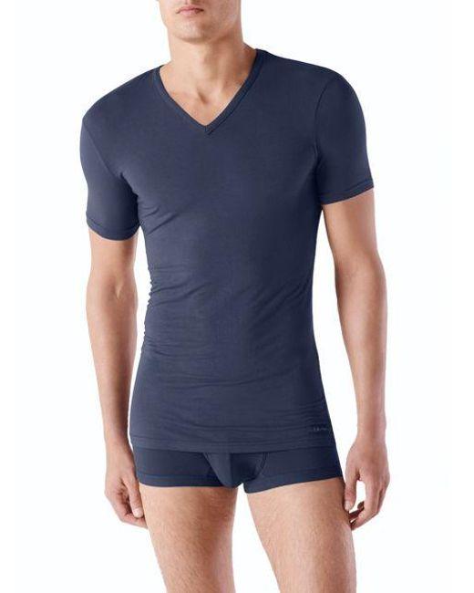 Calvin Klein | Blue V-neck Short Sleeve Tee for Men | Lyst