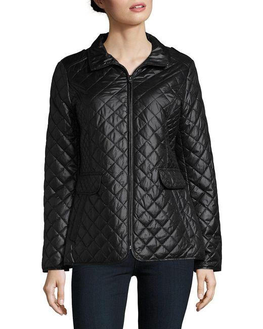 Ellen Tracy - Black Petite Quilted Zip Front Coat - Lyst
