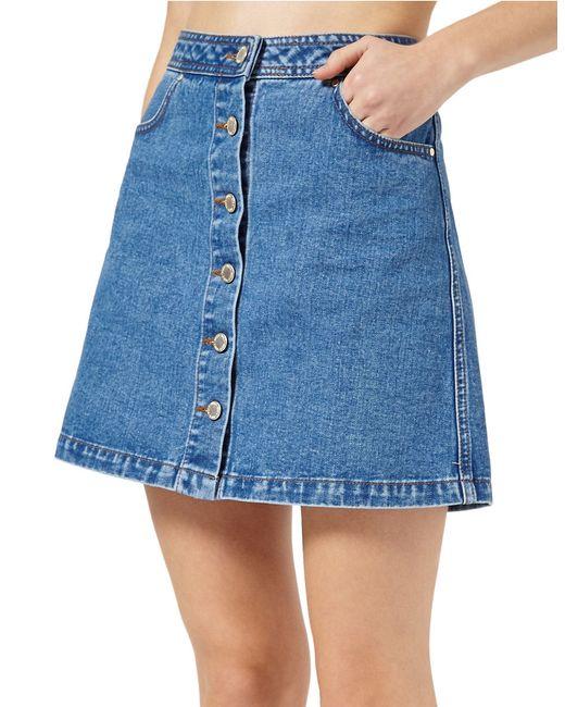 miss selfridge denim a line skirt in blue save 71 lyst