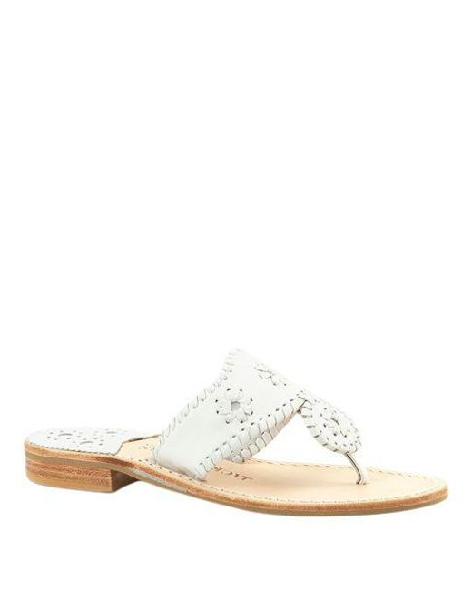 Jack Rogers - White Palm Beach Whipstitched Leather Sandals - Lyst