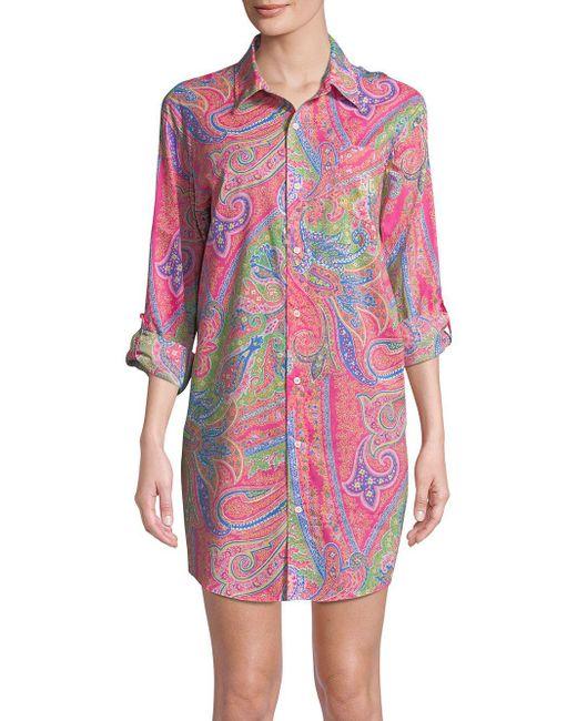 Lyst - Lauren By Ralph Lauren Floral Button-down Sleep Shirt in Pink b4a22886b