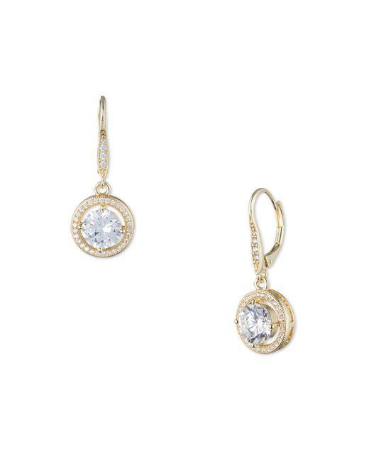 Anne Klein - Metallic Faceted Cubic Zirconia Drop Earrings - Lyst