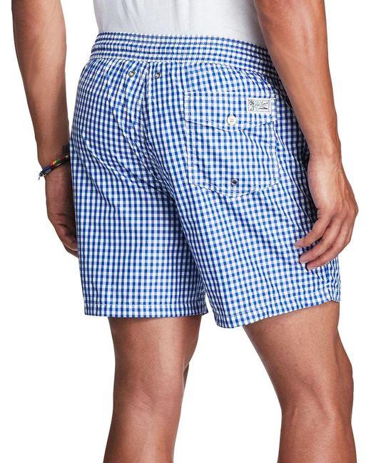 237766d0dd ... Polo Ralph Lauren - Blue Gingham Traveler Swim Shorts for Men - Lyst ...