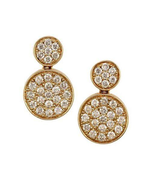 Effy Metallic Diamond And 14k Yellow Gold Disc Earrings Lyst